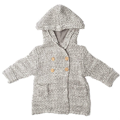 Beba Bean Clothes 6-12 / Grey Crochet Knit Hoodie