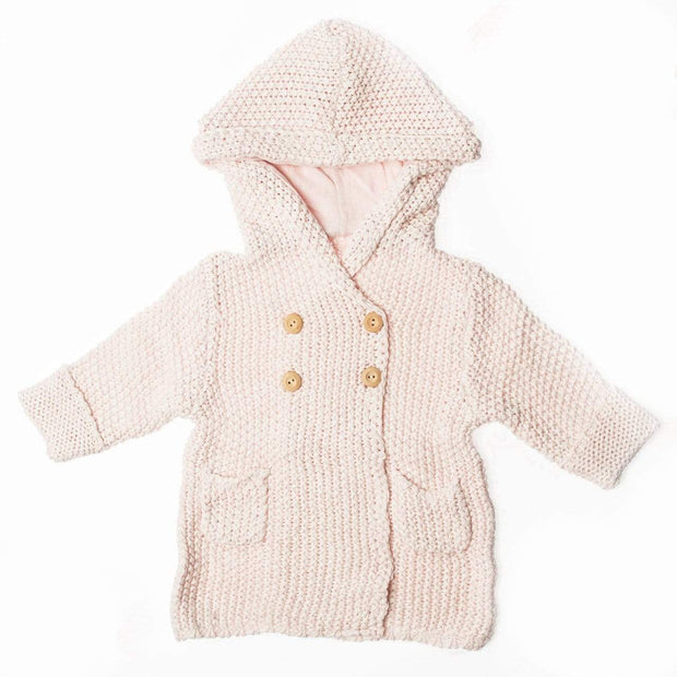Beba Bean Clothes 6-12 / Pink Crochet Knit Hoodie