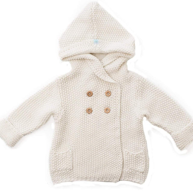 Beba Bean Clothes 6-12 / Ivory Crochet Knit Hoodie