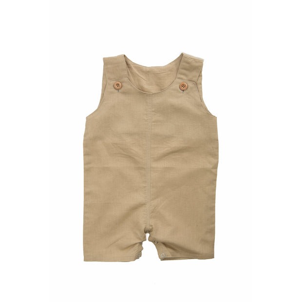 Beba Bean Clothes 3-6 / Sand Sleeveless Linen Romper