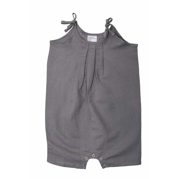 Beba Bean Clothes 3-6 / Grey Tie Linen Romper