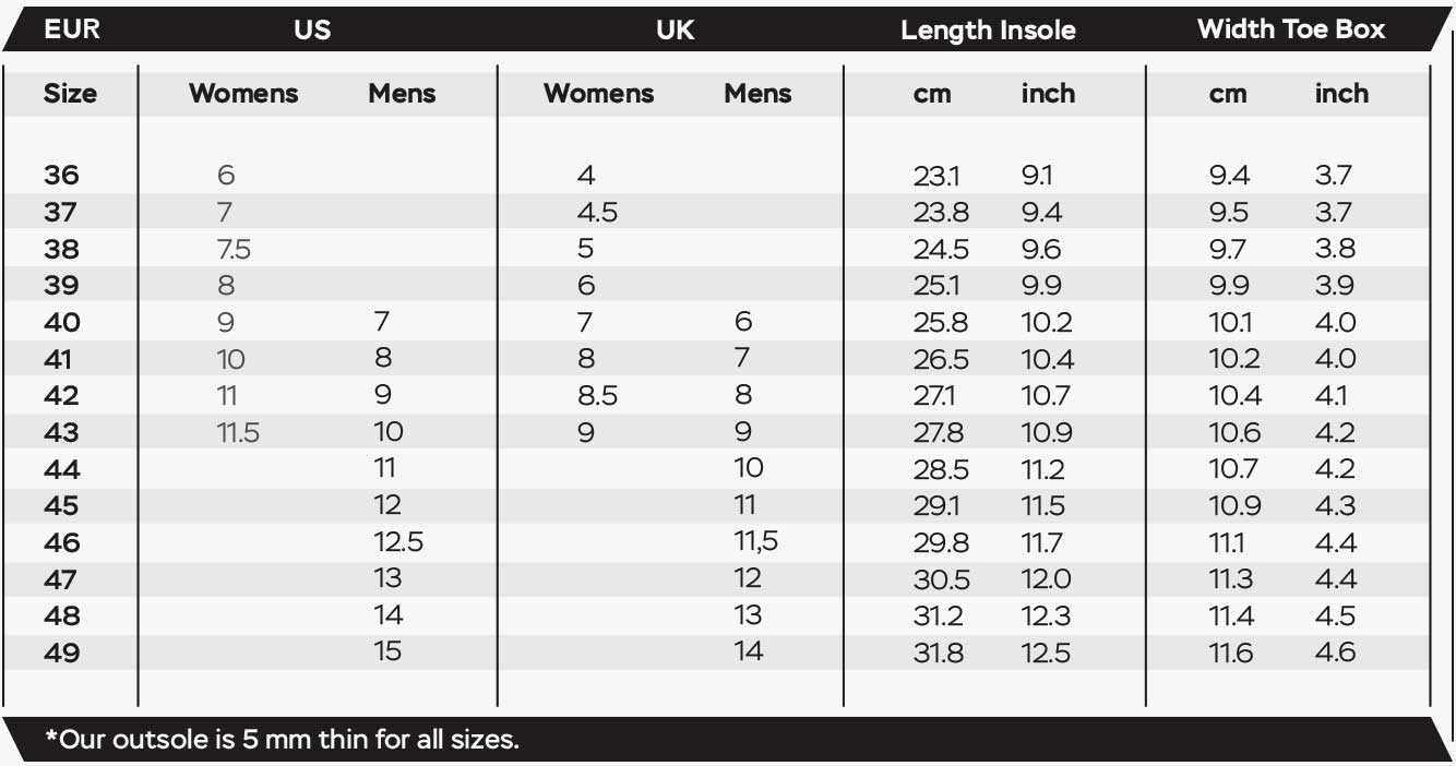 Measure your feet with our sizing guide.
