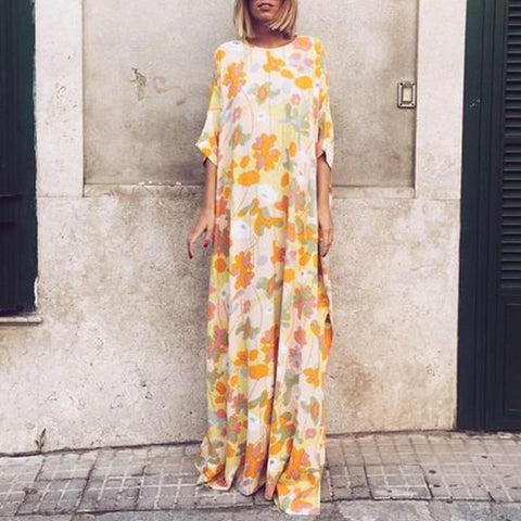 Round Neck Floral Printed Maxi Shift Dress