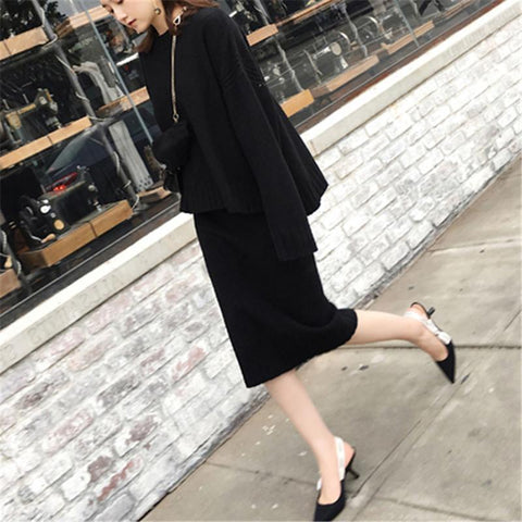 Fashion Knitted Sweater Maxi Dress Two Piece Suit Skirt