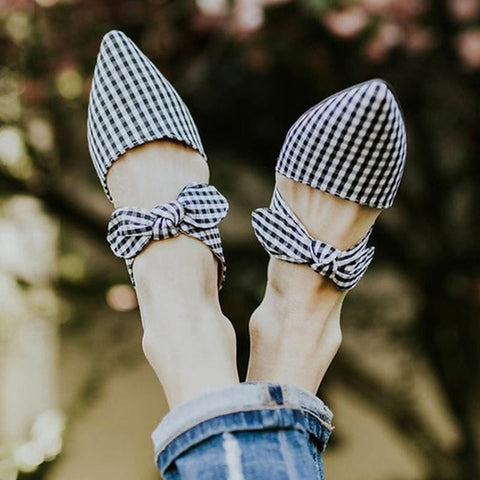 Fashion Pointed Bow Flat Slippers
