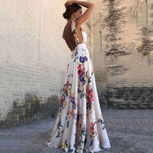 Sexy New Backless Floral Print Maxi Dress
