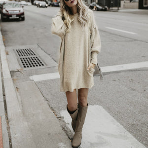Loose Round Neck Bat Sleeves Long Sweater