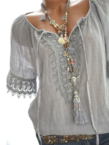 Tie Collar  Decorative Lace  Plain  Short Sleeve Blouses