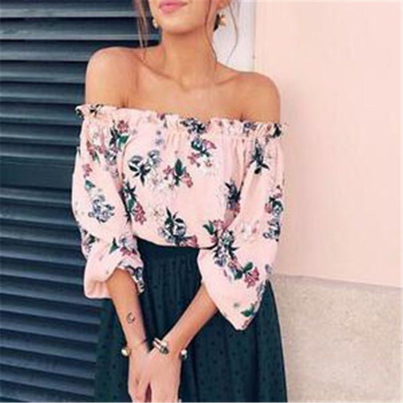 aa1ee2a6ae3 ... Load image into Gallery viewer, Sexy Off Shoulder Tube Printed Chiffon  Top ...