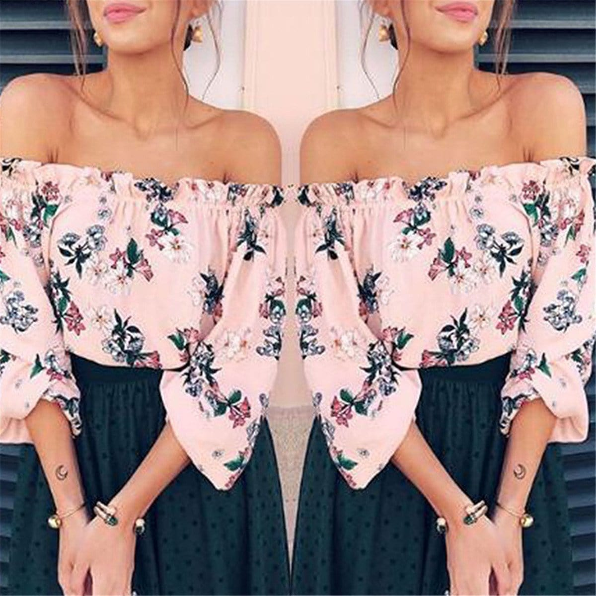 f1ed5caf430 Load image into Gallery viewer, Sexy Off Shoulder Tube Printed Chiffon Top  ...