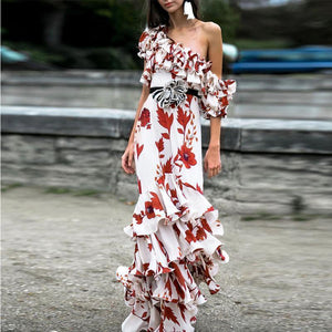 Fashion One Shoulder Floral Printed Belt Multi Flouncing Maxi Dress