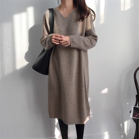 Fashion V Collar Long Sleeve Flattering Knitted Sweater Dress