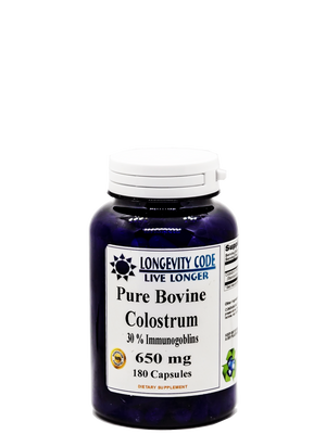 PURE BOVINE COLOSTRUM - 30% Immunogoblins 650mg, 180 caps