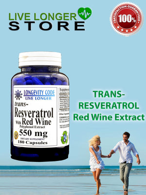 TRANS RESVERATROL & RED WINE EXTRACT - 550 mg, 180 caps.