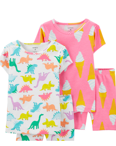 Dino 4-Piece Snug Fit Cotton PJs