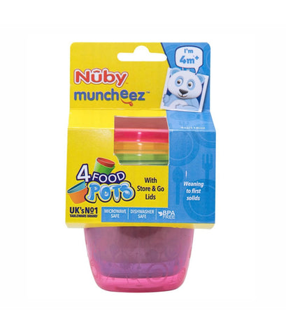 Nuby Store & Go Food Pots - 4Pc