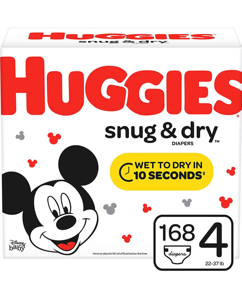 HUGGIES Snug & Dry Diapers, Size 4, 168 Count