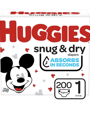 Huggies Snug & Dry Baby Diapers, Size 1, 200 Ct