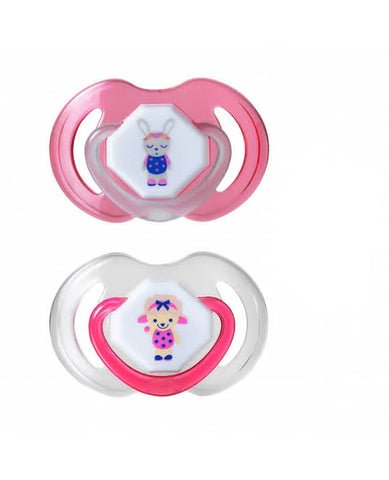 Nuby Day & Night Baby Soothers 0-6 Months - Pink