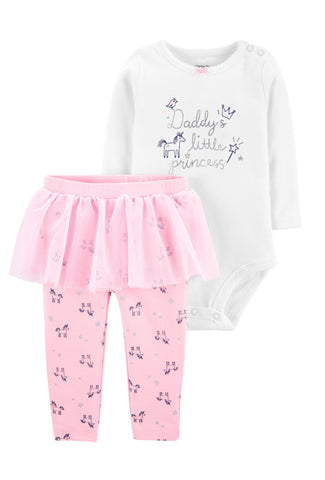 2-Piece Daddy's Little Princess Bodysuit & Tutu Pant Set