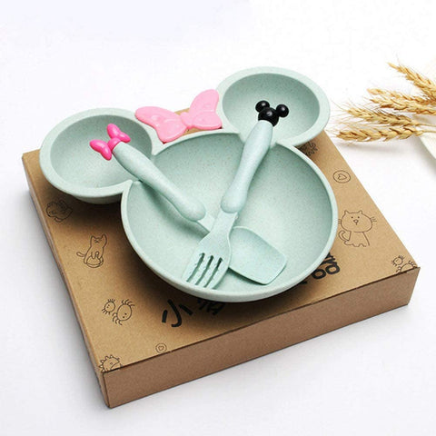 Kids Tableware Feeding Plate, Fork & Spoon
