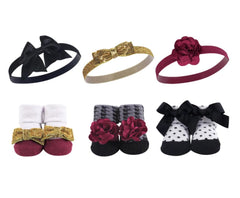 Hudson Baby Girl Headband and Socks Set, 6 Piece - Gold