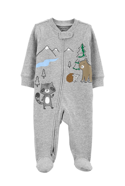 Woodland Creatures 2-Way Zip Cotton Sleep & Play