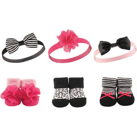 Hudson Baby Girl Headband and Socks Set, 6 Piece - Pink