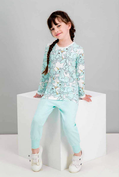 Unicorn Girls Jammies - Teal