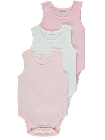 Pink Sleeveless Bodysuit 3 Pack