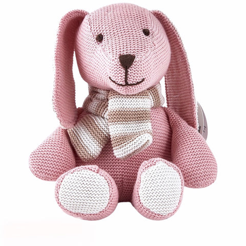 Pink & Cream Rabbit with Scarf