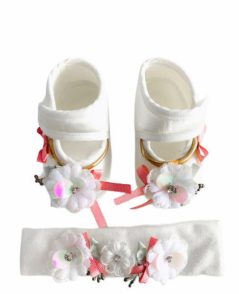 Minidamla White Strappy Shoe & Hairband