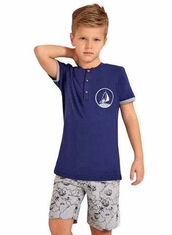 Boys Henley T-shirt & Short Jammies
