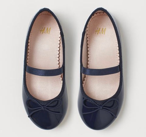H&M Shiny Leather Flats - Navy