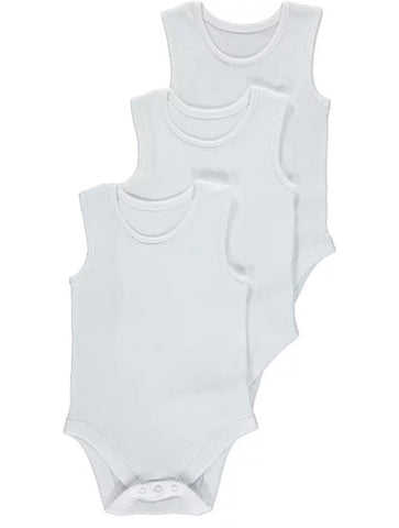 White Plain Sleeveless Bodysuits 3 Pack