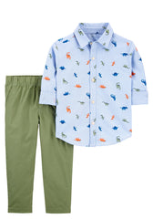 2-Piece Dinosaur Button-Front Shirt & Pant Set