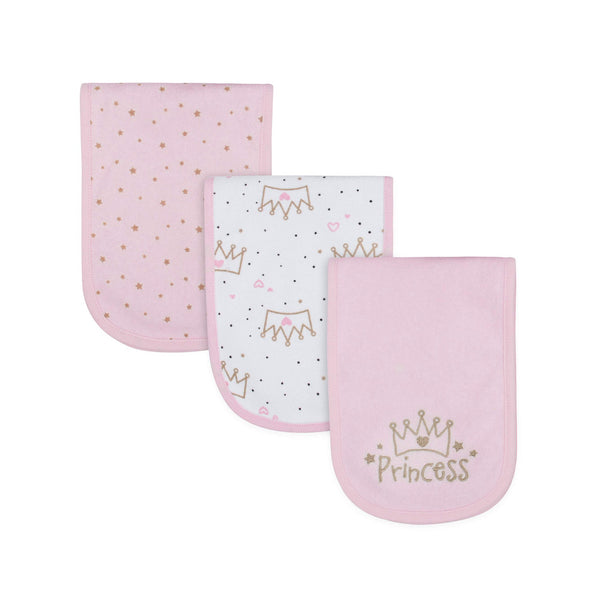Gerber Baby Girls Terry Princess Burp Cloth Set, 3-Pack