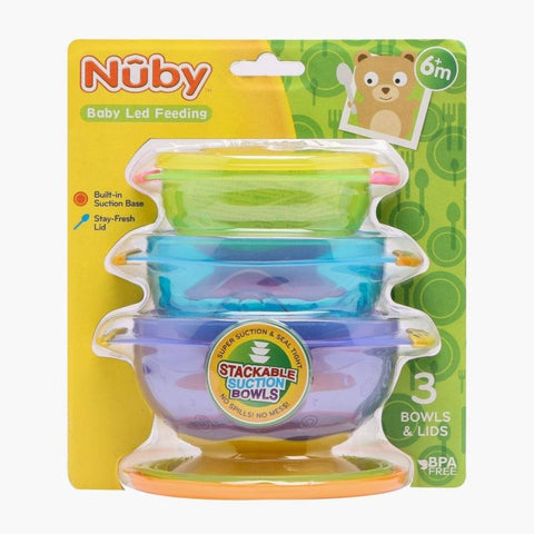 Nuby Stackable Suction Bowls - 3Packs