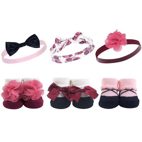 Hudson Baby Girl Headband and Socks Set, 6 Piece - Burgundy