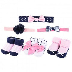 Hudson Baby Girl Headband and Socks Set, 6 Piece - Pink/Navy