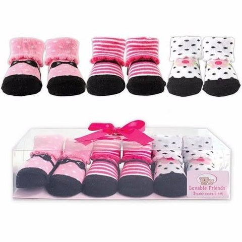 Luvable Friends 3Pack Booties - Stripes
