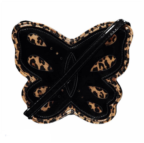 Girls Animal Print Cross Body Butterfly Bag