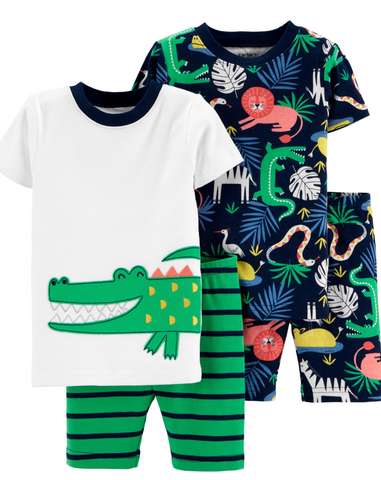 Alligator 4-Piece Snug Fit Cotton PJs