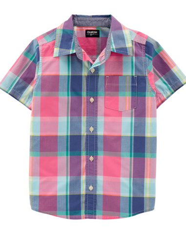 Oshkosh Plaid Short Sleeve Button-Front Shirt
