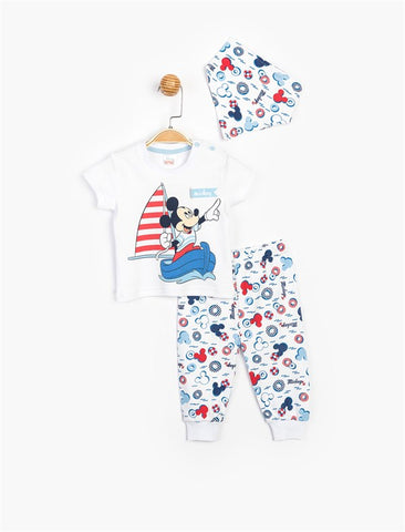 Mickey Mouse Top, Pants, and Kerchief Set for Baby - 15473
