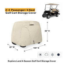 Explore Land Universal Golf Cart Cover 100% Waterproof Tan
