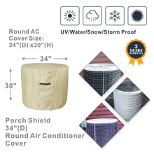Porch Shield 100% Waterproof 600D Heavy Duty Patio Air Conditioner Cover Tan