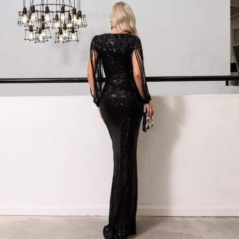 Campania - Sexy V Neck Long Sleeve Sequined Elegant Maxi Evening Dress