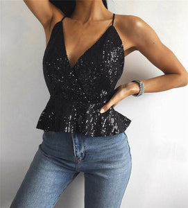 Sparkling Sequined Deep V Neck Top