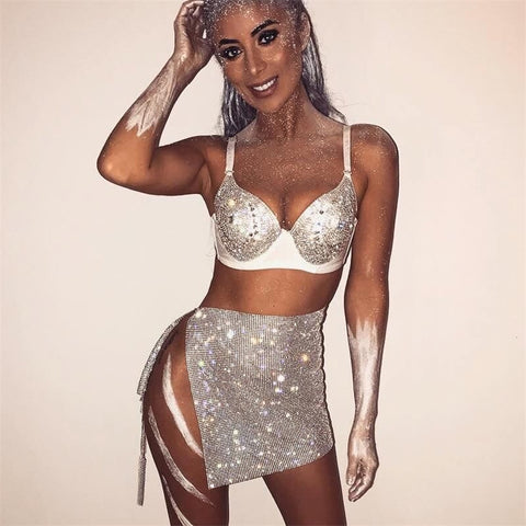 Pharoah Vibes - Stunning Side Split Sparkling Metallic Sequined Skirt